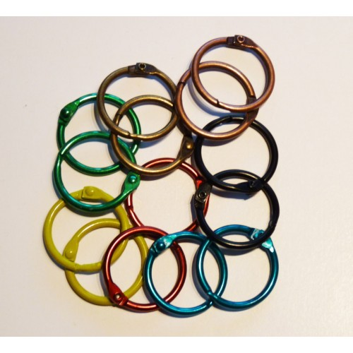 25mm Coloured Metal Binding Rings Assorted 50 Pk, Use with Tolsby, Free Shipping in UK