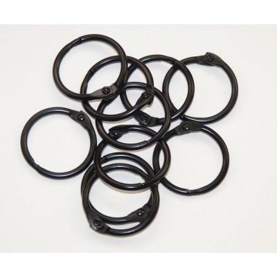 25mm Coloured Metal Binding Rings Black 10 Pk, Use with Tolsby, Free Shipping in UK