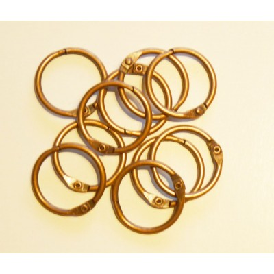 25mm Coloured Metal Binding Rings Brass 10 Pk, Use with Tolsby, Free Shipping in UK