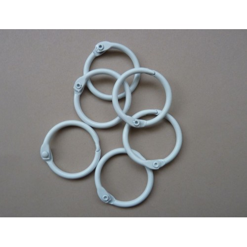 25mm Coloured Metal Binding Rings White 10 Pk, Use with Tolsby, Free Shipping in UK