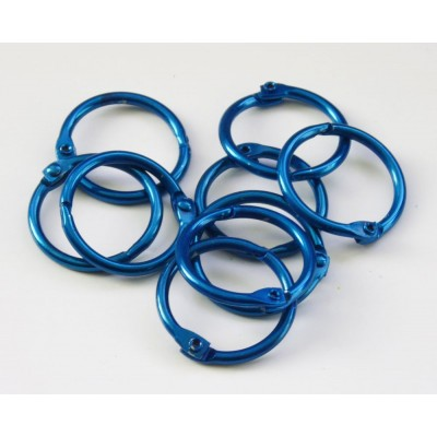 25mm Coloured Metal Binding Rings Blue 10 Pk, Use with Tolsby, Free Shipping in UK