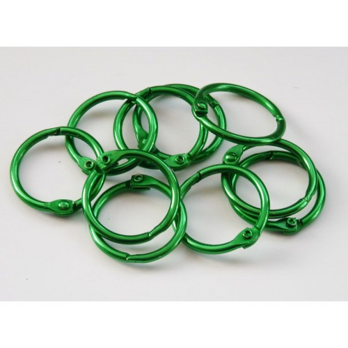 25mm Coloured Metal Binding Rings Green 10 Pk, Use with Tolsby, Free Shipping in UK