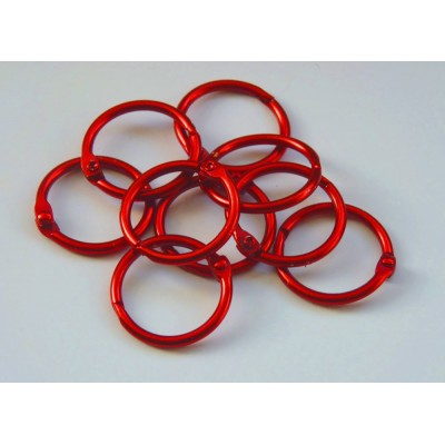 25mm Coloured Metal Binding Rings Red 10 Pk, Use with Tolsby, Free Shipping in UK